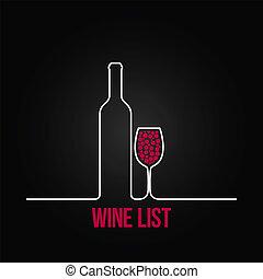 tło, menu, spis, szkło, projektować, butelka, wino