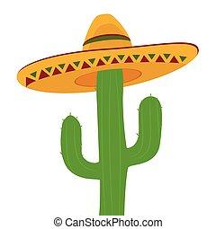 tło., odizolowany, kaktus, sombrero, biały