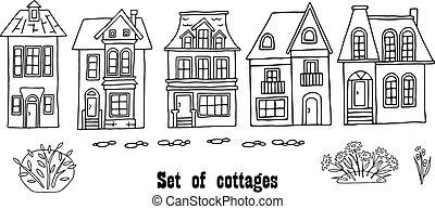 tło., osobny, gardens., druk, dużo, przeźroczysty, single-family, projektować, pociągnięty, ilustracja, różny, ręka, domy, tekstylia, domy, wektor, korespondentki
