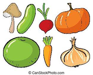 tło, owoce, biały, komplet, wielki, warzywa
