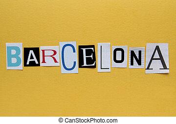 tło, papier, słowo, barcelona, żółty