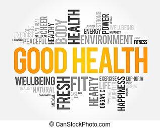 tło, pojęcie, słowo, dobry, chmura, collage, zdrowie