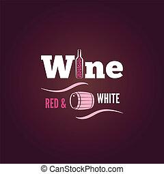 tło, projektować, butelka, biały czerwony, wino