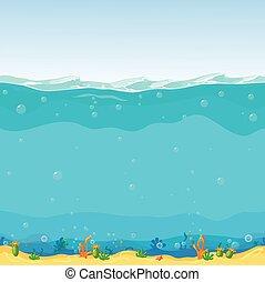 tło, rysunek, podwodny, seamless, projektować, gra, krajobraz