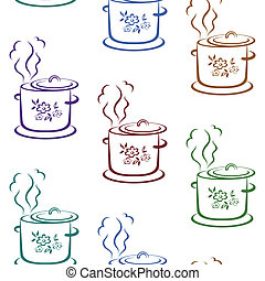 tło, seamless, rondel, kuchnia