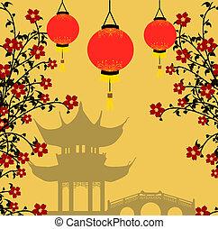 tło, styl, wektor, asian, ilustracja