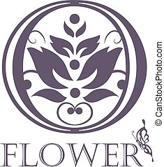 tło, template., logo, projektować, kwiat, symbol., lotos