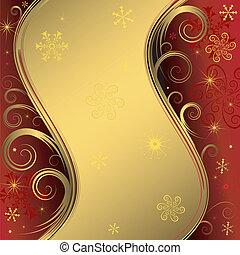 tło, (vector), boże narodzenie, złoty, czerwony