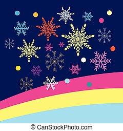 tło, wektor, boże narodzenie, płatki śniegu, barwny, błękitny