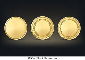tło., wektor, nagroda, medals, czarnoskóry, złoty, komplet