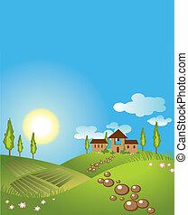 tło., wektor, zielony krajobraz