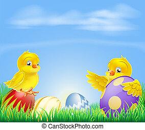 tło, wielkanoc, kurczęta, jaja