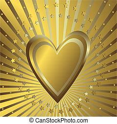 tło złotego, serce