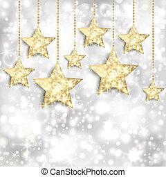 tło, złoty, światła, gwiazdy, twinkly, srebro