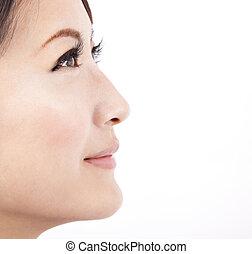 tło, zamknięcie, odizolowany, twarz, biały, kobieta, piękno, do góry, asian