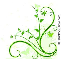 tło., zielony, kwiatowy