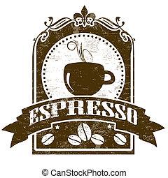tłoczyć, espresso, grunge