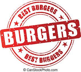 tłoczyć, hamburger, wektor, najlepszy