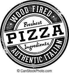 tłoczyć, menu, drewno, obstrzelany, pizza
