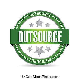 tłoczyć, outsource, projektować, ilustracja, znak