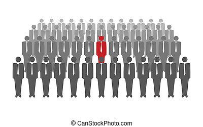 tłum, ilustracja, diabeł, wektor, czerwony