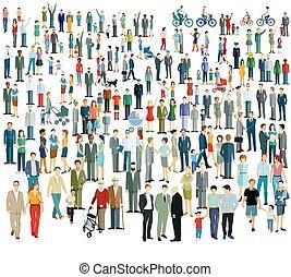 tłum, różny, people.eps, wielki