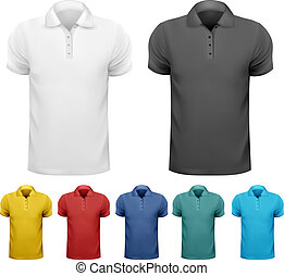 t-, kolor, mężczyźni, ilustracja, shirts., wektor, czarnoskóry, projektować, biały, template.