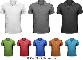 t-shirts., kolor, mężczyźni, ilustracja, wektor, czarnoskóry, projektować, biały, template.