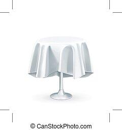 tablecloth, okrągły stół, biały