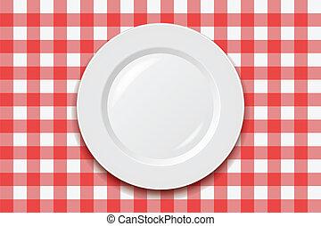 tablecloth, opróżniać, wektor, płyta