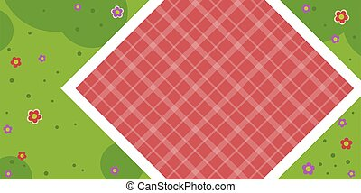 tablecloth, płaski, łąka, odizolowany, wektor, piknik