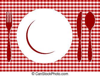 tablecloth, zmontowanie, miejsce, czerwony