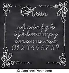 tablica, abstrakcyjny, ilustracja, kreda, wektor, menu, tekst