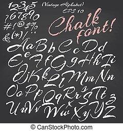 tablica, tło, kreda, chrzcielnica, alphabet., wektor
