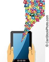 tabliczka, app, zawiera, icons., pc, ludzkie ręki