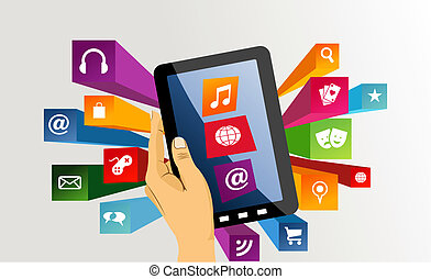tabliczka, app, zawiera, icons., ręka, pc, ludzki
