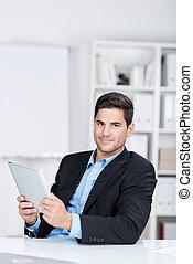 tabliczka, biurko, zaufany, dzierżawa, cyfrowy, biznesmen