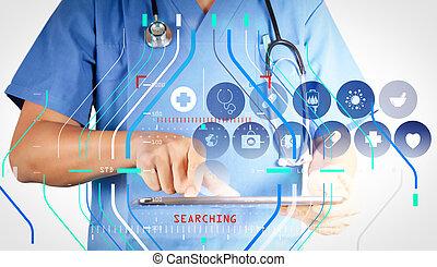 tabliczka, doktor, pracujący, nowoczesny, interfejs, komputer, faktyczny, medycyna