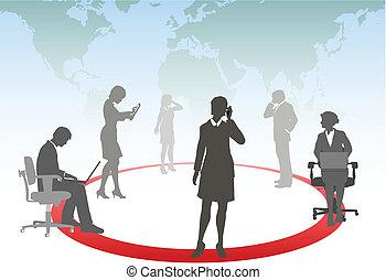 tabliczka, handlowy zaludniają, media, laptop, telefon, komputer, połączyć, dotyk, mądry, sieć