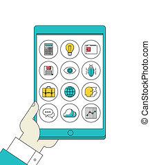 tabliczka, ikony, apps, ręka, cyfrowy, kreska