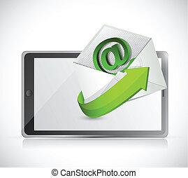 tabliczka, ilustracja, kontakt, projektować, na, email
