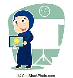 tabliczka, jej, kobieta interesu, idea, arabski, prezentacja