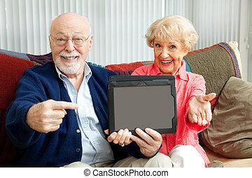 tabliczka, kropka, pc, seniorzy