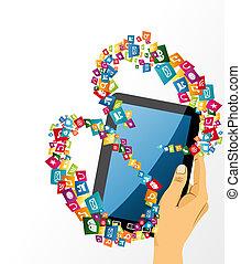 tabliczka, media, icons., ręka, pc, ludzki, towarzyski