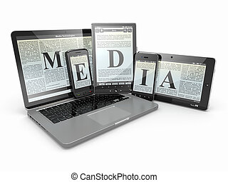 tabliczka, media., laptop, telefon, pc., elektronowy, devices.