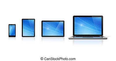 tabliczka, telefon, ruchomy, laptop, pc, cyfrowy