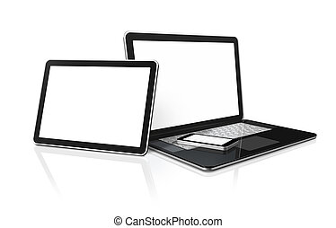 tabliczka, telefon, ruchomy, laptop, pc komputer, cyfrowy