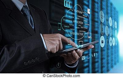 tabliczka, urządzenie obsługujące, biznesmen, ręka, komputer, używając, pokój