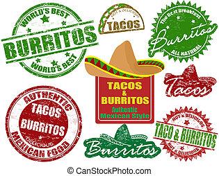 tacos, pieczęcie, burritos