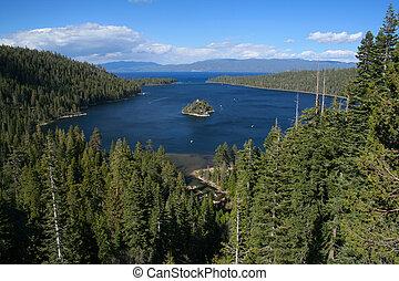 tahoe, zatoka, kalifornia, jezioro, szmaragd